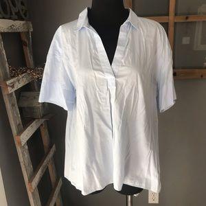 LOFT The Softened Shirt Pale Blue Cotton Blouse M